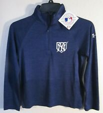 NWT Under Armour New York Yankees Youth 1/2-Zip Pullover Top Jacket YSM Navy $45