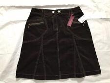 Vtg Gitano A Line Skirt Size 6 Brown 4 Pocket Front Zip Brown Velour Stretch