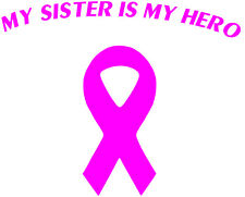 Breast Cancer Decal | My sister is my hero Sticker, Survivor Ribbon vinyl decal