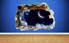 Moon & Stars Wall Sticker Smashed Wall Full Colour art decal bedroom kids