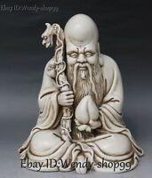 "12"" China Dehua White Porcelain Shouxing Longevity Star God Dragon Peach Statue"
