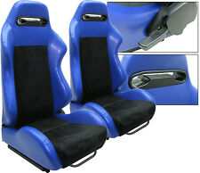 NEW 1 PAIR BLUE PVC LEATHER & BLACK SUEDE ADJUSTABLE RACING SEATS ALL HONDA