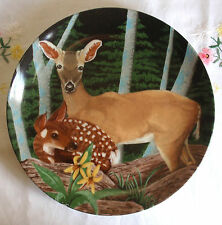 Deer with Fawn Collectors Plate by Steven Shachter, Crowne Porcelain