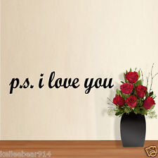 PS P.S. I LOVE YOU Romantic Love Decal Wall Quote Removable Vinyl Sticker Art