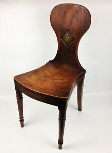 Antique Regency Mahogany Armorial Hall Chair - Polychrome Crest Sabre Legs Irish