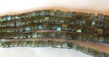 Labradorite,  Heishi Cut Rondelles, 2-4 x 4mm approx Great Highlights! Bag Of 15