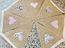 HANDMADE VINTAGE STYLE HESSIAN BUNTING WITH PINK, FLORAL, MINT/DUCK EGG HEARTS