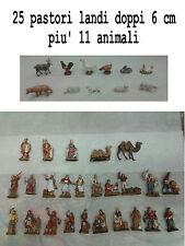 25 pastori landi 6 cm mastieri doppi piu' 11 animali presepe crib shepherds