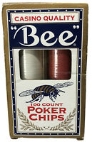 Bee Casino Quality 100 Count Poker Chip Set 50 Ivory 25 Red 25 Blue NEW In Box