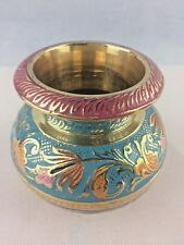 Handcrafted Metal Antique Brass Flower Vase Jar Colorful Home Decor Dia10cm New