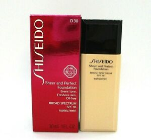 Shiseido Sheer And Perfect Foundation SPF 18 ~ D 30 Very Rich Brown ~ 30 ml /