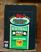 1992 Topps Stadium Club NFL Football Cards Series 1 Full Box of 36 Sealed Packs