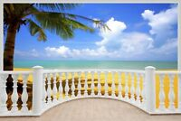 Huge 3D Balcony Exotic Beach Wall Stickers Mural Decal Wallpaper 83