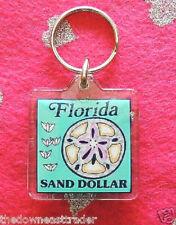 "Florida Sand Dollar Keychain ~1-1/2"" x 1-1/2"" Sea Shore Souvenir Mint Key Ring"