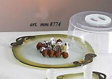 Vassoio centrotavola in vetro lastra decorato con finiture metallo e campana