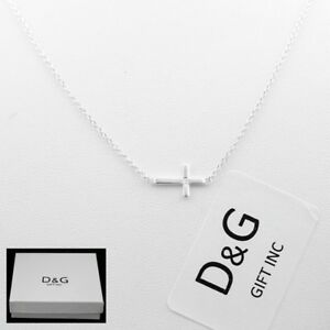 "DG Women's 925 Italy Sterling Silver SideWay Cross Pendant 16""-18""Necklace + Box"