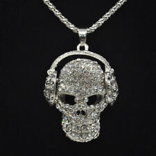 "Skull Headphones DJ Hip-Hop Iced Out Bling Necklace Pendant On 28"" Silver Chain"