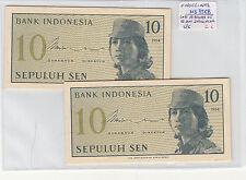 LOTE DE 10 BILLETES DE 10  SEN  INDONESIA ( SC )  ( MB3568 )