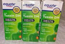 3X Equate Adult Tussin DM MAX Cough & Chest Congestion DM 4 fl oz ea Exp 1/2021+