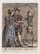 "HOLBEIN 1816 Dance of Death Color Engraving ""Bride and Groom"" Framed SIGNED COA"