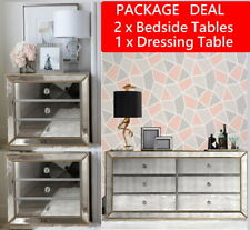 (PAIR) Mirrored Bedside Tables & 6 Drawer Chest Dresser Package Mirror Furniture