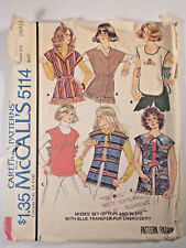 Mc-5114 VTG 1970s Tops & Vests Sewing Pattern McCall's Size 10-12 Cut & Complete