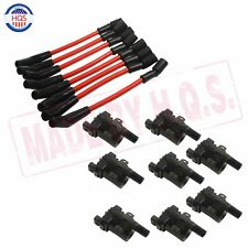 Set of 8 Ignition Coils Kit & 8 Pcs Spark Plug Ignition Wires Set For Chevy NEW