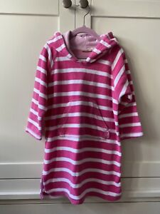 Jojo Maman Bebe Striped Hooded Towelling Pull On Swimwear Cover Up Size 4-5 Yrs
