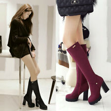 Women's Zipper Thick High Heels Platform Mid Calf Knee High Gothic Riding Boots