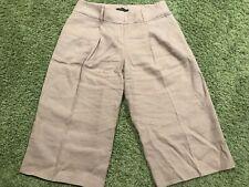 d7eab63482 Elie Tahari for Nordstrom Beige Womens Wide Leg Crop Linen Culottes Pants  Size 4