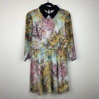 Ted Baker London Sew In Love Collared Empire Waist Bird Print Dress Women Size 3