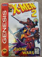 X-Men 2 Clone Wars Game Sega Genesis Complete In Box Authentic Game Tested
