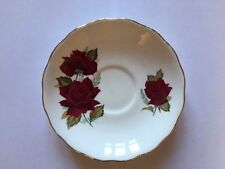 Royal Vale Bone China 14cm Saucer with Red Rose Design