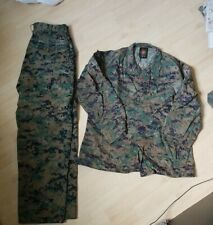 USMC MARPAT Uniform WOODLAND Combat Shirt & Pants in size MEDIUM SHORT USED
