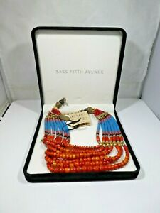 MASHA ARCHER STERLING SILVER  CORAL AND TURQUOISE NECKLACE