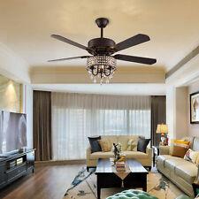 "52""Reversible Crystal Ceiling Fan Light Remote Control 5-Blade Fandelier Bedroom"