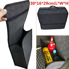 Gray Soft Woolen Felt Car Trunk Organizer Bag Fireproof Stowing Tidy Storage Box