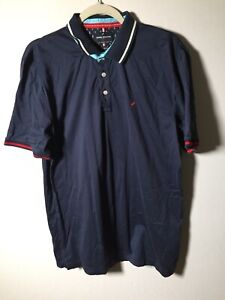 daniel hechter Paris Mens Navy Blue Polo Shirt Size L Short Sleeve Cotton