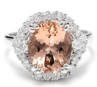 5.75 Carats Natural Morganite and Diamond 14K Solid White Gold Ring