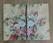 "2 RALPH LAUREN Valance 81"" x 17"" Sophie Brooke Floral Yellow Pink Rose Cottage"