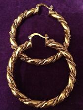 GOLD Colour Chunky 50mm Dia 18k Gold Filled Rope twisted Hoop/Huggie  Earring