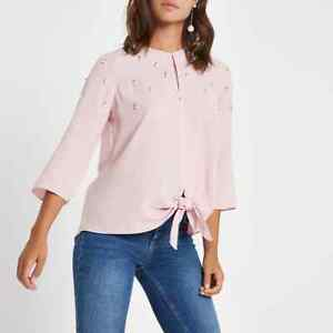 Ex River Island Pearl Beaded Pink 3/4 Sleeve Knot Front Top Size 16 and 18