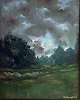 """Abstract Landscape Large Oil Painting, 22""""x28"""", Original Signed on Canvas"""