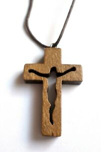 Wooden Cross Necklace, Cross Pendant, Christian Cross, Jesus Cross, Religious Cr