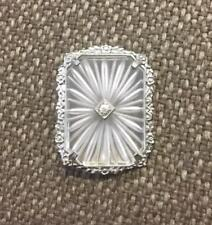 Vintage 10K White Gold Camphor Glass Flower Floral Pin