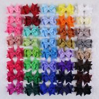 """New Fall/winter Colors Lot Of 12 3"""" Butique hair Bow Clips Solid Colors Girl"""