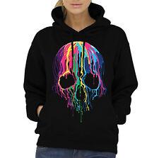 Velocitee Ladies Hoodie Colourful Melting Skull A19423