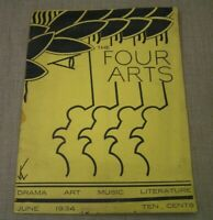 June 1934 The Four Arts Magazine w/ Writings by TV Producer Norman Felton -Rare!