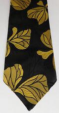 Commodore vintage floral cravate noir et jaune trevira 1950s 1960s flower power