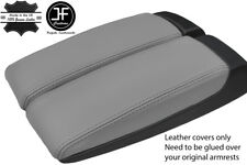 GREY GENUINE LEATHER 2X ARMREST LID COVERS FITS AUDI A8 2003-10